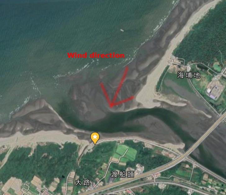 Riverbank kitesurfing spot map